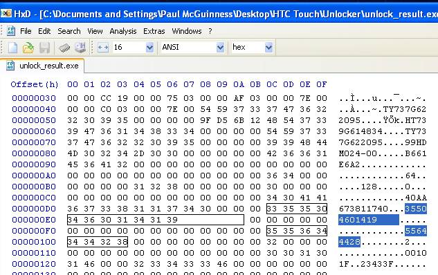 Unlock Hex Editor Screen Capture